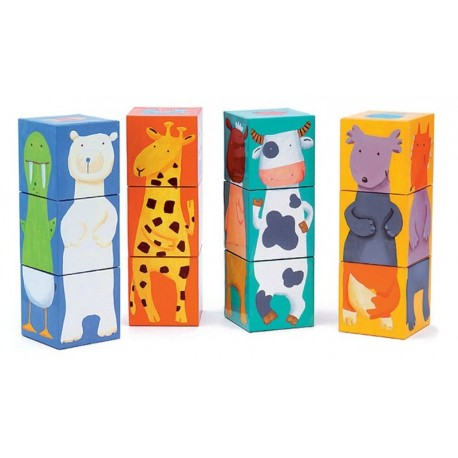Puzle 12 Cubos Animales De Colores