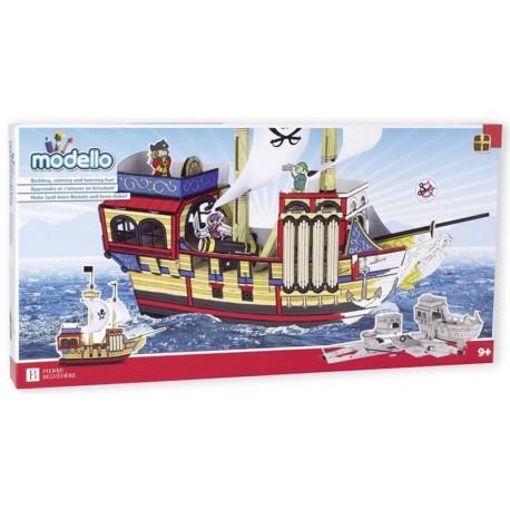 Modello Barco Pirata Colorea y Monta