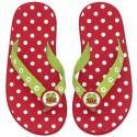 Chanclas rojas topitos blancos