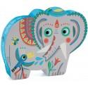 Puzzle Silueta Elefante Asiático Haathee