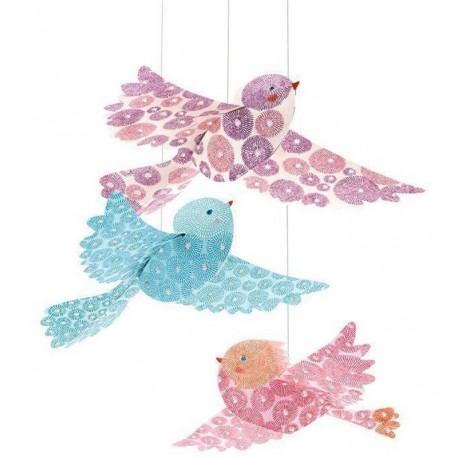 Colgante Pájaros Purpurina
