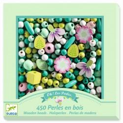 Perlas de Madera Hojas y Flores